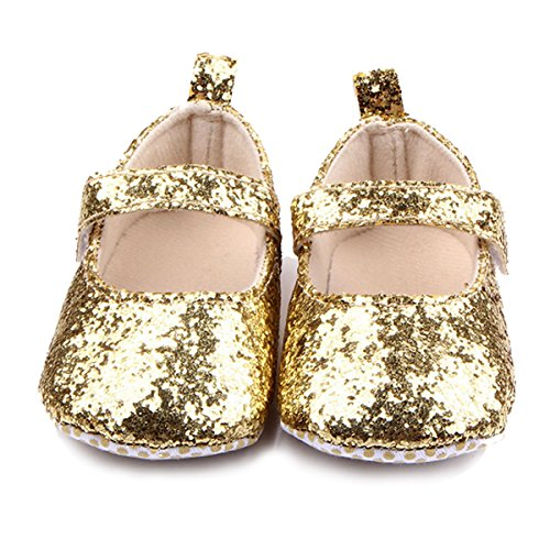 M2cbridge Baby Girl's Bow Dress Shoe Infant Toddler Pre-walker Crib Shoe (0-6 Months, Golden Glitter)