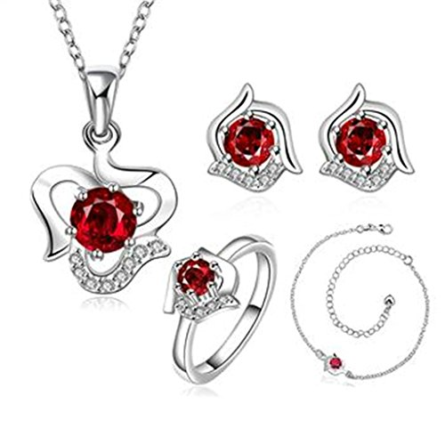 Female Ringmaster Costume Diy (AmDxD Jewelry Silver Plated Women Jewelry Sets Red CZ Necklace Earrings Bracelet Rings Size 8)