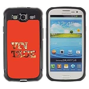 All-Round híbrido Heavy Duty de goma duro caso cubierta protectora Accesorio Generación-II BY RAYDREAMMM - Samsung Galaxy S3 I9300 - Vintage Cool Old School Red Text Orange