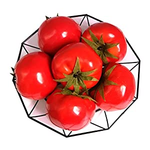 Jing-Rise 6pcs Fake Tomato Artificial Vegetables Artificial Fruits Vivid Red Tomato for Home Fruit Shop Supermarket Desk Office Restaurant Decorations Or Props 80