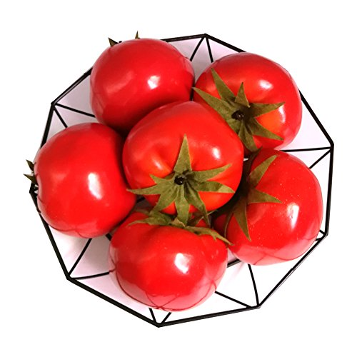 Jing-Rise 6pcs Fake Tomato Artificial Vegetables Artificial Fruits Vivid Red Tomato For Home Fruit Shop Supermarket Desk Office Restaurant Decorations Or Props by Jing-Rise