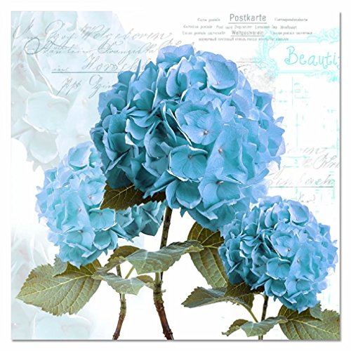 Hydrangea Blue Needlepoint - Handser 5D DIY Diamond Painting, Embroidery Kits Arts, Crafts & Sewing Cross Stitch for Wall Decor, Blue Hydrangea Green Leaves English Words Pattern (Picture Size:15.7x15.7inch)