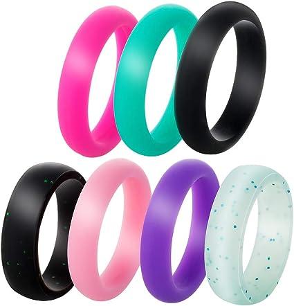 7//SET Silicone Wedding Ring Rubber Band Women Men Sport Outdoor Flexible Workout