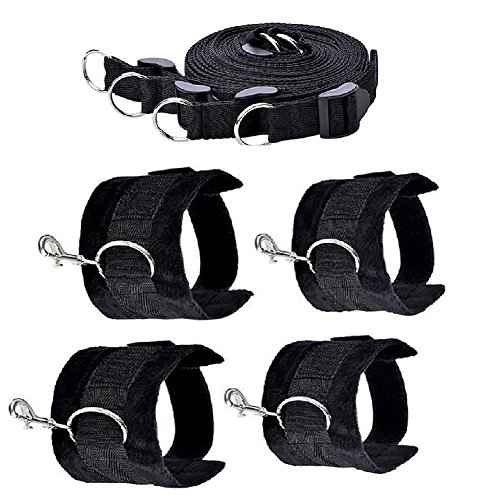 Restraint Medical Kit Extra With Cuffs For Ankles and Wrists, Black (Scratch Mouth Sheet)