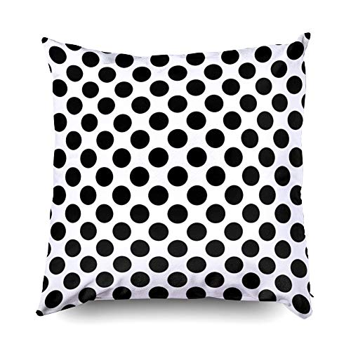 Shorping Zippered Pillow Covers Pillowcases 20X20 Inch Black Dot Pattern White Decorative Throw Pillow Cover,Pillow Cases Cushion Cover for Home Sofa Bedding ()