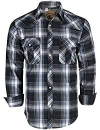Men's Snap Button Down Plaid Long Sleeve Work Casual Shirt