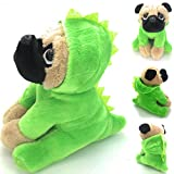 Joy Amigo Stuffed Pug Dog Puppy Soft Cuddly Animal Toy in Costumes Dressed As a Dinosaur - Super Cute Quality Teddy Plush 10 Inch