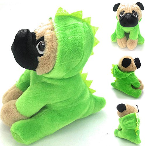 Joy Amigo Stuffed Pug Dog Puppy Soft Cuddly Animal Toy in Costumes Dressed As a Dinosaur - Super Cute Quality Teddy Plush 10 Inch -
