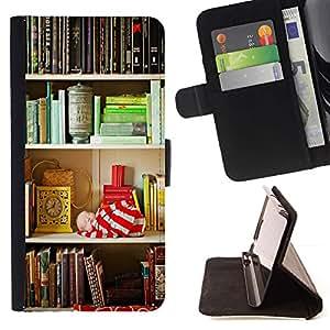 For Sony Xperia Z1 Compact / Z1 Mini (Not Z1) D5503 Case , Plataforma de Lectura Teach School Library- la tarjeta de Crédito Slots PU Funda de cuero Monedero caso cubierta de piel