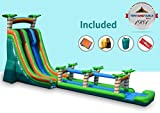 TentandTable 27-Foot Tall by 76-Foot Long by 19-Foot Wide Huge Super Size Tropical Water Slide with Slip-n-Slide - Commercial Inflatable Backyard Bouncer - with Included Stakes and 2 1.5 HP Zoom Blowers