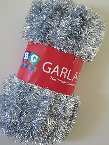 "Blue Green Novelty Silver Foil Tinsel Christmas Garland 708"" (59 Feet)"