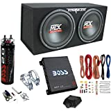 MTX TNE212D 12 1200W Dual Loaded Subwoofer Box + 1100W Amplifier + Capacitor