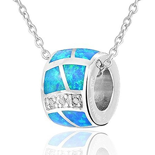 Sinlifu Bead Style Created Opal Silver Plated Pendant Necklace Jewelry for Women (Blue&White Chain) (Blue Opal Pendant)