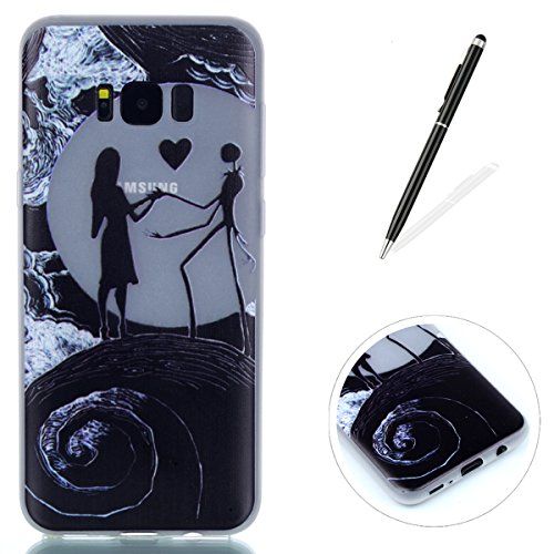 Compatible for Galaxy S8 Silicone Gel Case [Free Black Touch Stylus],KaseHom Luminous Effect Green Glow in The Dark Clear Soft Ultra Slim TPU Protective Case Cover,Nightmare Before Christmas ...]()
