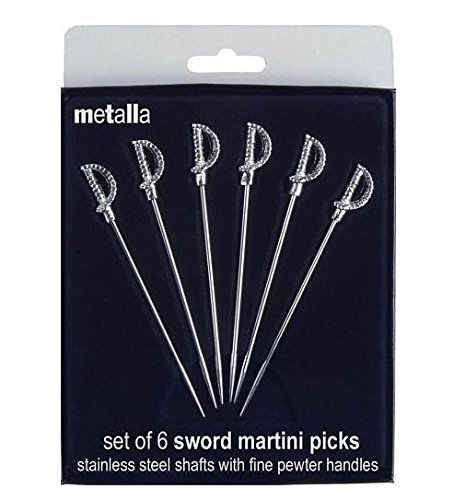 (Prodyne MP-5 Miniature Sword Martini Picks (Set Of 6), Metallic)