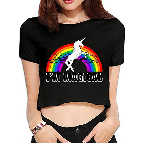 (I'm Magical Unicorn Rainbow Girls Crop)