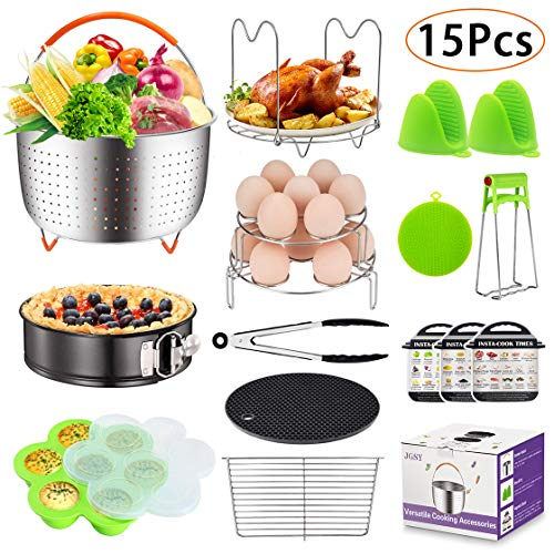 15 Pieces Accessories Set Fits 6, 8 Qt InstaPot, Ninja Foodi, Other Pressure Cookers, with Steamer Basket for Instant Pot Accessories Set, Springform Pan, Egg Bites Mold, Oven Mitts and More