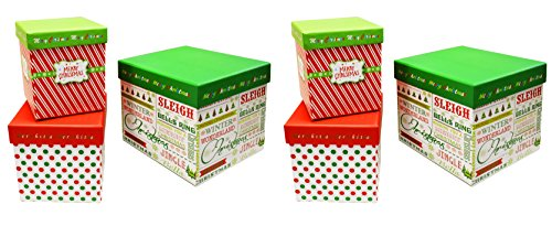 3 Nesting Boxes (Set of 6 Alef Elegant Decorative Holiday Themed Nesting Gift Boxes -3 Boxes- Nesting Boxes Beautifully Themed and Decorated! (Contemporary, 2))