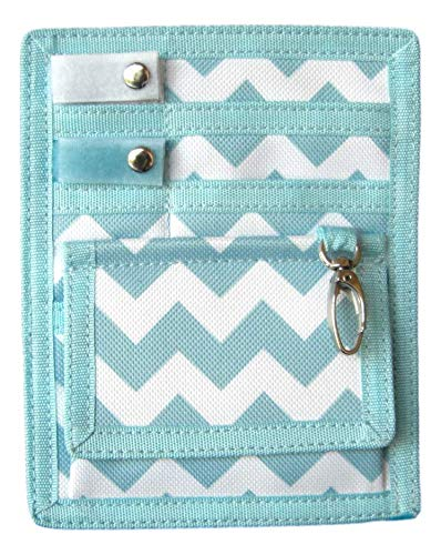 6 Piece Protective Lab Coat Pocket Organizer Kit has Popular Sky Blue Chevron Pattern You're Sure to Love- Perfect Gift For Nurses, Students & You!