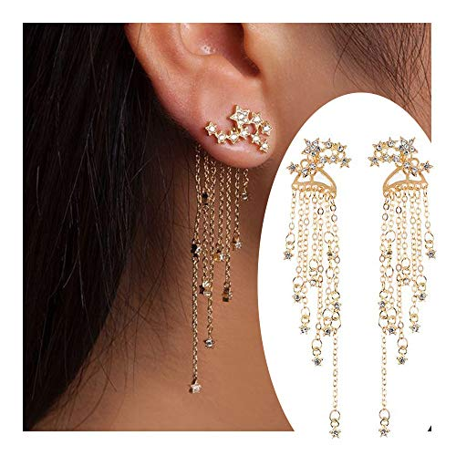 palettei Fashion Star Crystal Dangle Earrings for Women Gold Silver Color Front Back Hanged Long Tassel Earings Bohemian Jewelry (Gold) ()