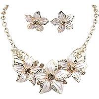 Meolin Women Crystal Flower Necklace Earrings Set Floral Women Jewelry,Beige,34cm+6cm