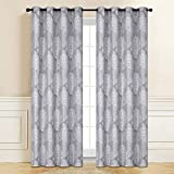XiLe Jacquard Curtain Panel Set Navy Curtain Room Darkening Draperies Curtains Panels Drapes for Bedroom\Darkening Curtains 84 WindowCurtains with Grommets (2 Panels 54 by 84 inch Grey)