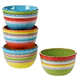Certified International 25629SET/4 Mariachi Ice Cream Bowls (Set of 4), 5.25-Inch, Multicolor