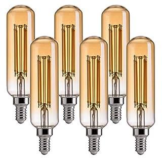 FLSNT Dimmable LED T10 Edison Light Bulbs,2200K Warm White,4.5W(40 Watts Equivalent),330LM,CRI80,Amber Glass Finishing,E12 Candelabra Base,6 Pack