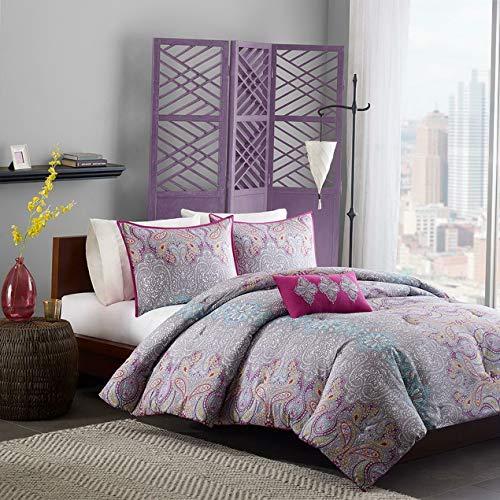 Kaputar Modern Chic Purple Pink Grey Teal Blue Aqua Girl Exotic Retro Soft Comforter Set | Model CMFRTRSTS - 1433 | Full ()