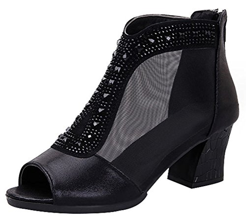T&Mates Ladies Breathable Mesh Peep Toe Rhinestone Chunky Mid Heel Dress Pump Sandals (7 B(M)US,Black1) - Laundry Lined Pumps