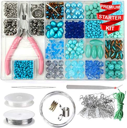 Modda Jewelry Making Supplies - Jewelry Making Kits for Adults, Teens, Girls, Beginners, Women - Includes Instructions, Tools, Beads, Charms for Necklace, Earring, Bracelet Making Kit - Turquoise Set