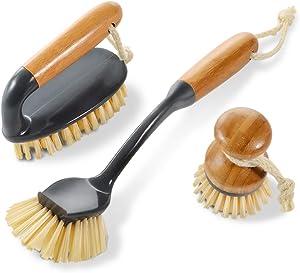 3PCS Household Bamboo Brushes Kitchen and Bathroom Cleaning Brushes,1 Scrub Brush,1 Pan Brush,1 Long Handle Dish Brush Masthome