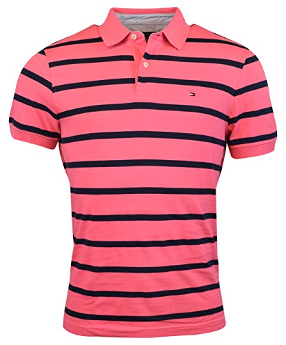Tommy Hilfiger Mens Custom Fit Striped Knit Cotton Polo S...