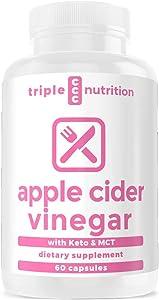 Apple Cider Vinegar Capsules + MCT Oil Keto - Fat Burner for Energy w/Ketosis - Metabolism Booster, Detox, Keto Pills - Apple Cider Vinegar with The Mother - Appetite Suppressant -Weight Loss