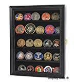 Lockable 30 Military Challenge Coin Poker Chip Display Case Shadow Box, Solid Wood, COIN30-BLA