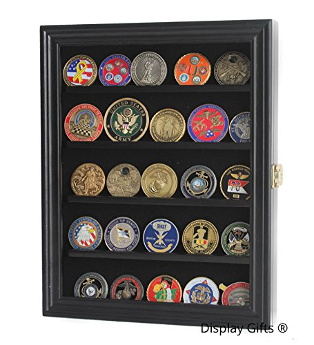 (Lockable 30 Military Challenge Coin, Sport Competition Coin, Casino Chip Display Case Wall Mounted Cabinet, with Lock (Black Finish))