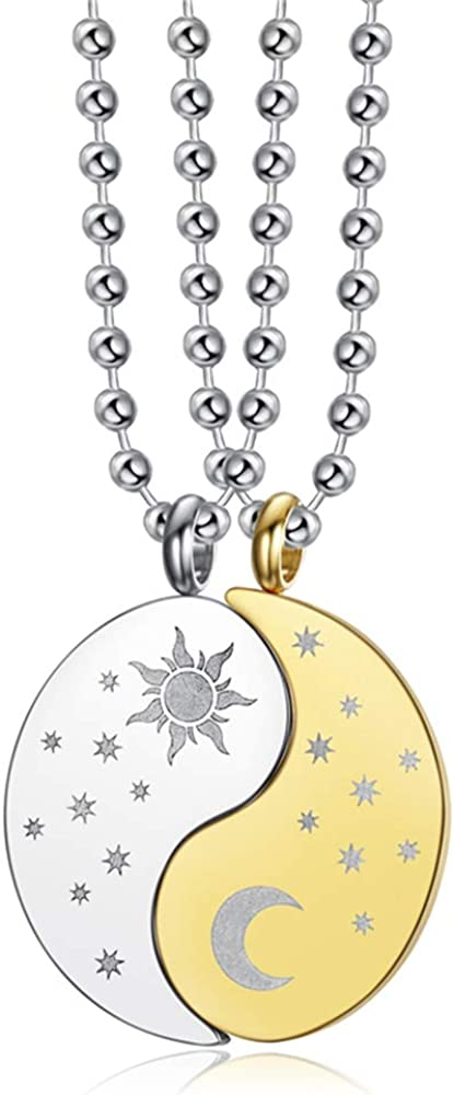 Blowin Juego de 2 collares con colgante de puzle de Yin Yang, de acero inoxidable, con diseño de sol, luna, a juego, para él y ella, para los mejores amigos, joyería de amistad