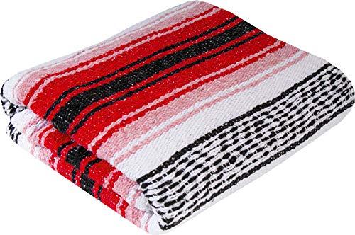 El Paso Designs Genuine Mexican Falsa Blanket - Yoga Studio Blanket, Colorful, Soft Woven Serape Imported from Mexico (Cherry) by El Paso Designs (Image #2)