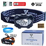 VITCHELO V800 Headlamp Flashlight with White and Red LED Lights. Super...
