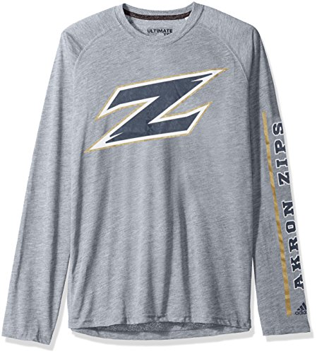 adidas NCAA Akron Zips Adult Men sleeve Play Ultimate L/S Tee, XX-Large, Medium Grey Heather (Zip Tee Sleeve)