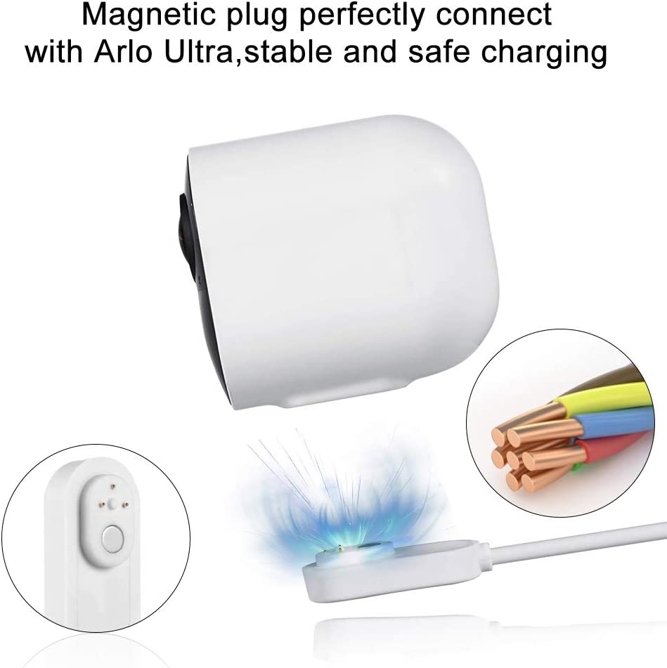VMA5000C 26ft Weatherproof Outdoor or Indoor Magnetic Charging Cable and Adapter Amityke Charging Cable Compatible with Arlo Ultra and Arlo Pro 3 Only