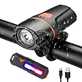 Cheap BOHSRL Bike Light Front and Back USB Rechargeable Super Bright Headlight and Free Rear Light Set for Your Bicycle, Easy Install and Quick Release, Fits All Bicycles