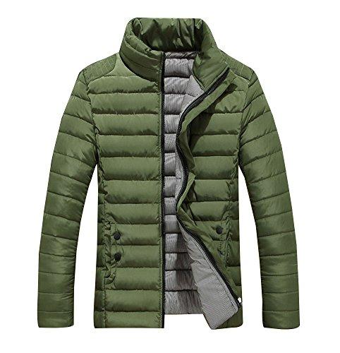 Verde Giubbotto Uomini Invernale Slim Giacche Fit Cappotto Corto Caldo ZTRw7q
