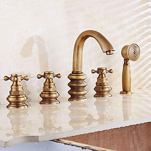 アンティーク真鍮の浴室のミキサーの浴槽の蛇口、ハンドシャワー浴槽と蛇口浴室のミキサーを5枚の穴の浴槽の蛇口の真鍮をデザインアンティーク