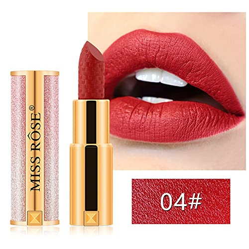 Lápiz Labial Mate Con Maquillaje De Labios Más Voluminoso Lápiz Labial De Pigmento Alto Y Duradero Aterciopelado (04#)
