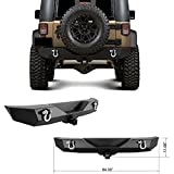 Restyling Factory 07-16 Jeep Wrangler JK Heavy Duty Rock Crawler Rear Bumper With 2'' Hitch Receiver-Textured Black (Black)