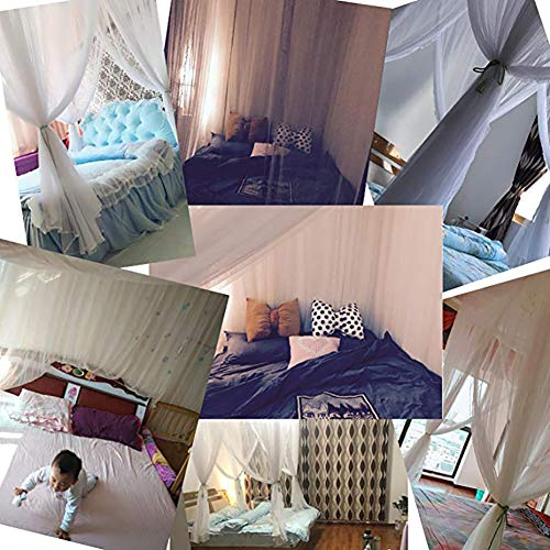 KE & LE Princess Style Mesh Canopy Curtains with Bottom, Hanging Mosquito Net Universal Size Crib Mosquito Net for Girls Kids Toddlers Crib Tent Mesh Canopy Curtains with Bottom-b Queen2 by KE & LE (Image #4)