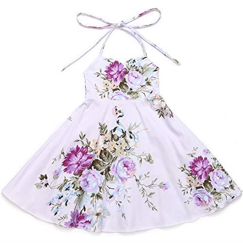 Flofallzique Flower Baby Girls Dress Vintage Purple Summer Party Toddler Boho Dress(1, Purple) ()