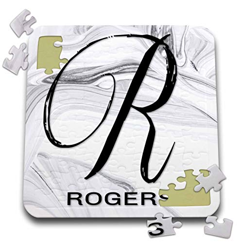 - 3dRose BrooklynMeme Monograms - White Marble Monogram R - Rogers - 10x10 Inch Puzzle (pzl_310073_2)