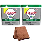 Cascade Platinum ActionPacs Dishwasher Detergent, Fresh Scent, 62 Count, 2-Pack with Cleaning Cloth